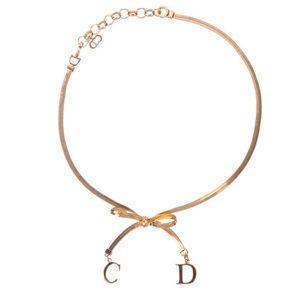 Christian Dior Vintage Gold Bow Choker